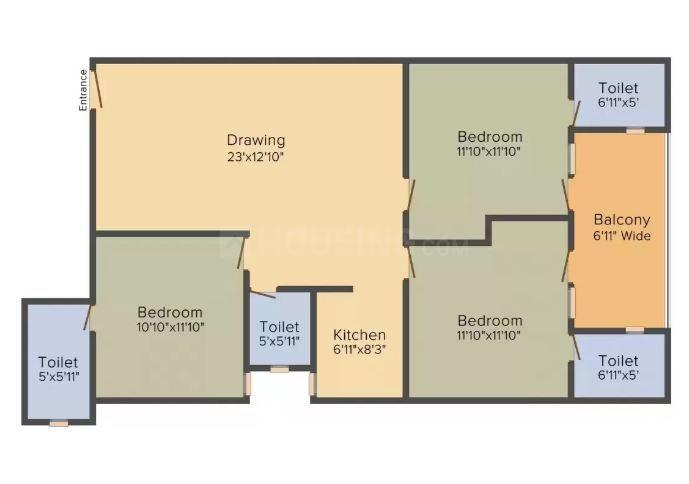 Floor Plan Image of 0 - 1125.04 Sq.ft 3 BHK Apartment for buy in  Sai Swarg