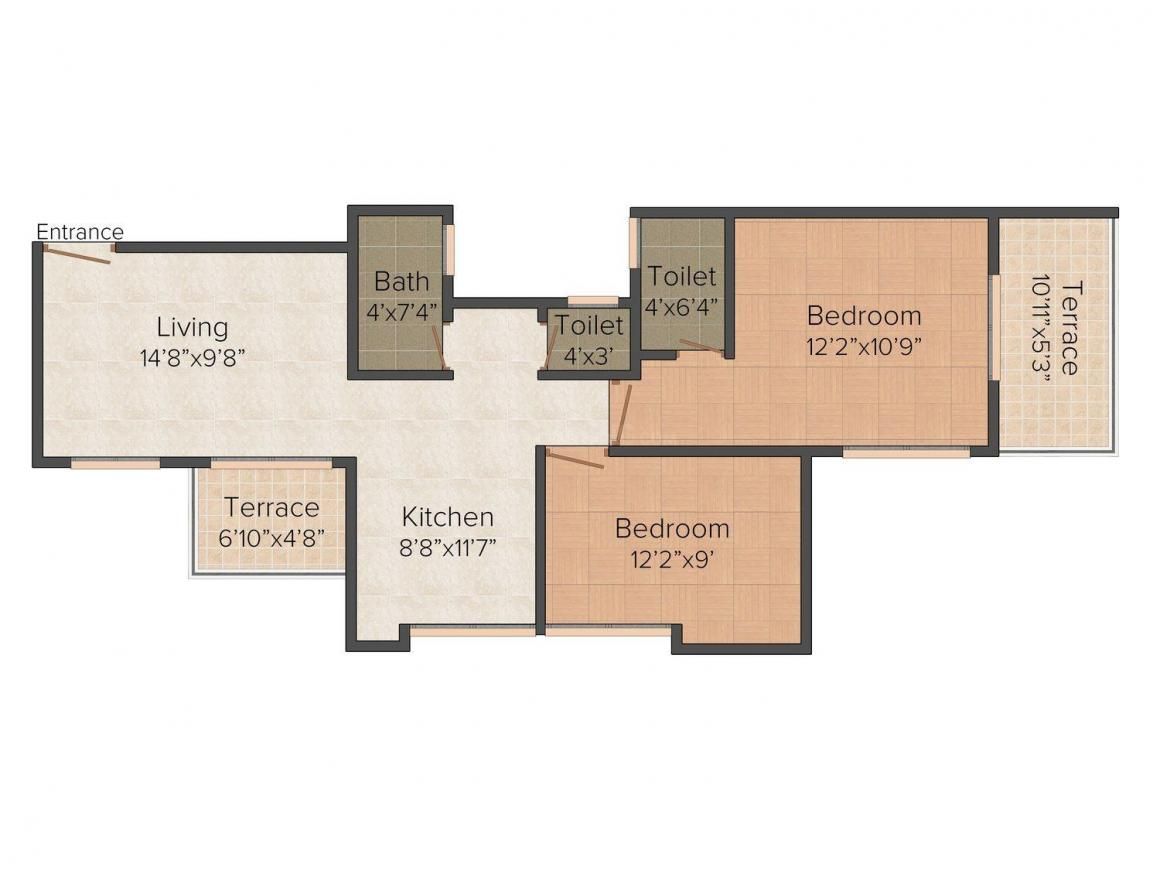 GPK Chintamani Residency Floor Plan: 2 BHK Unit with Built up area of 865 sq.ft 1