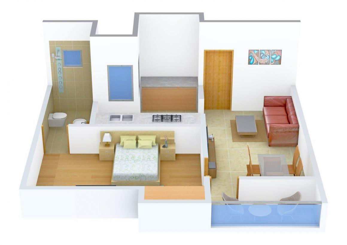 Green Honey Floor Plan: 1 BHK Unit with Built up area of 650 sq.ft 1