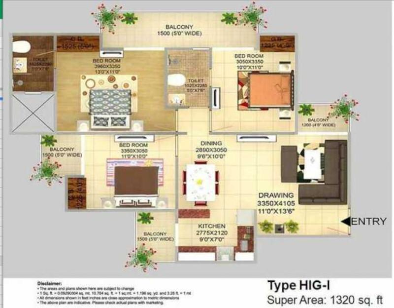 Victory Crossroads Floor Plan: 3 BHK Unit with Built up area of 1320 sq.ft 1