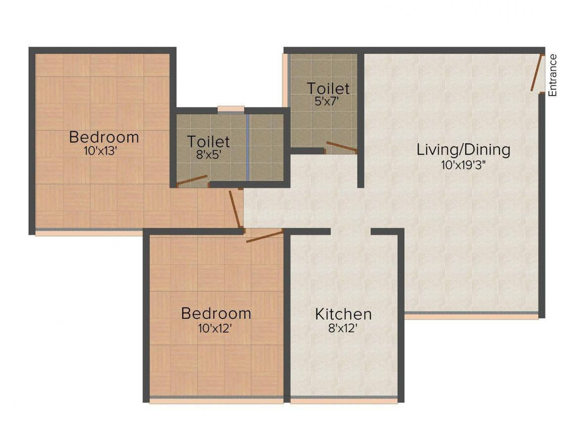 Floor Plan Image of 715 - 790 Sq.ft 2 BHK Apartment for buy in Sweet Home Vertical Heights