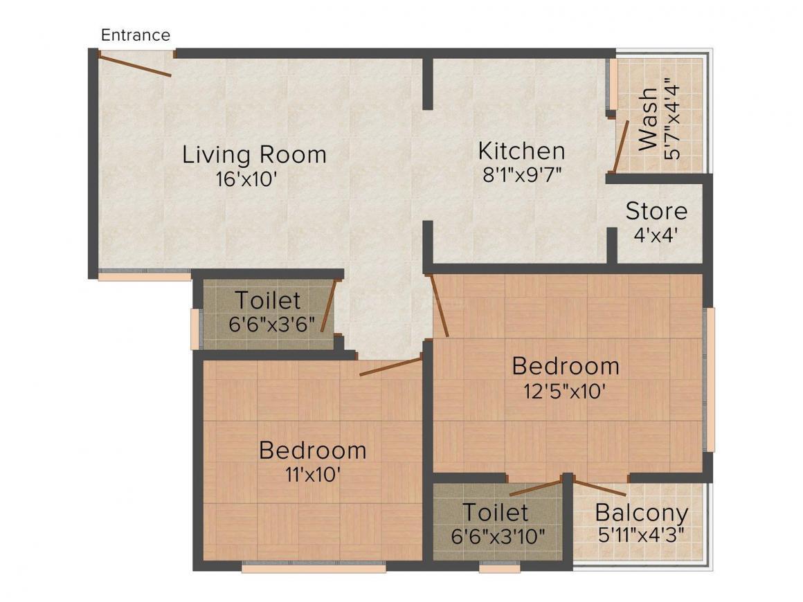 Shree Gayatri Chavni 3 Floor Plan: 2 BHK Unit with Built up area of 1260 sq.ft 1