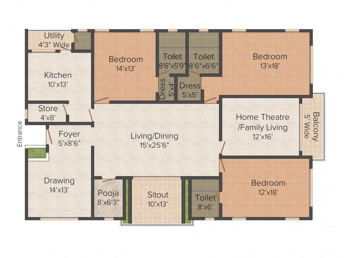 Floor Plan Image of 2975.0 - 3200.0 Sq.ft 3 BHK Apartment for buy in Vamsiram Jyothi Lotus