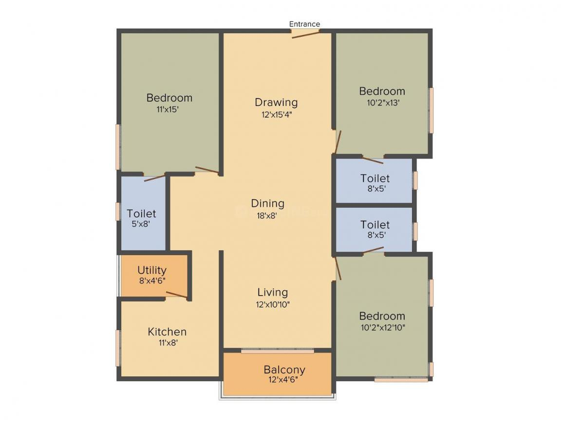 Ramky One Galaxia Floor Plan: 3 BHK Unit with Built up area of 1695 sq.ft 1