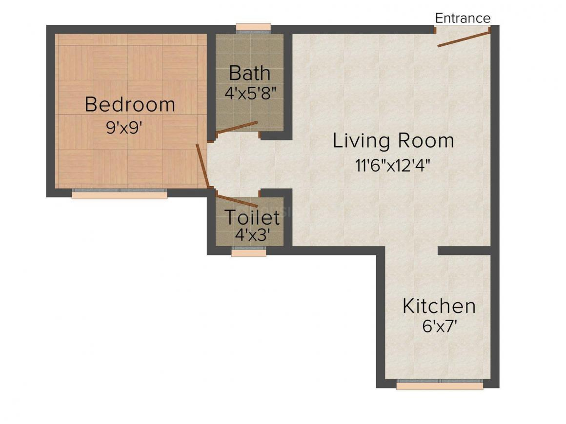 Floor Plan Image of 520 - 652 Sq.ft 1 BHK Apartment for buy in Shree Radha Krishna Shanti Villa