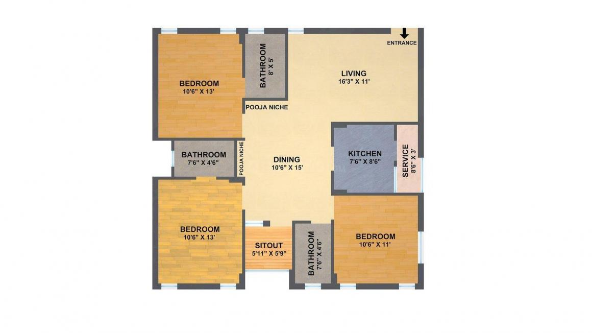 Omshakthy Santha Towers Floor Plan: 3 BHK Unit with Built up area of 1372 sq.ft 1