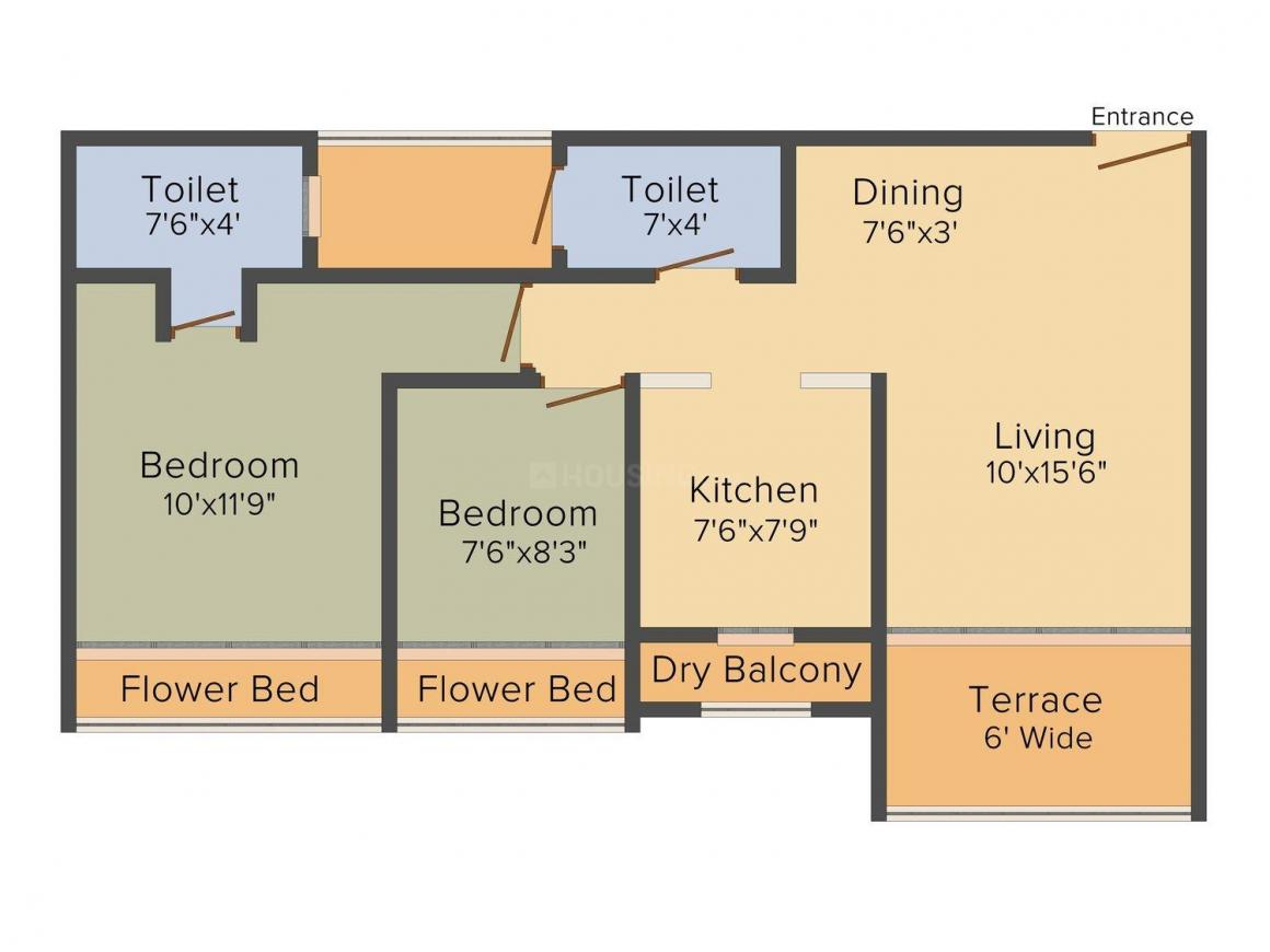 Floor Plan Image of 698 - 1648 Sq.ft 1 BHK Apartment for buy in Tycoons Gold Rush