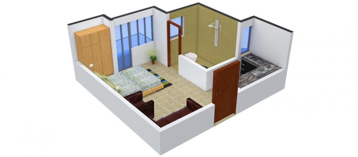 Urbtech Xaviers Floor Plan: 1 BHK Unit with Built up area of 408 sq.ft 1