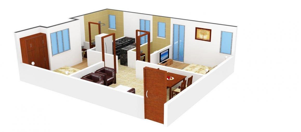 Floor Plan Image of 0 - 650.0 Sq.ft 2 BHK Apartment for buy in Preetha Rishimaa Flats
