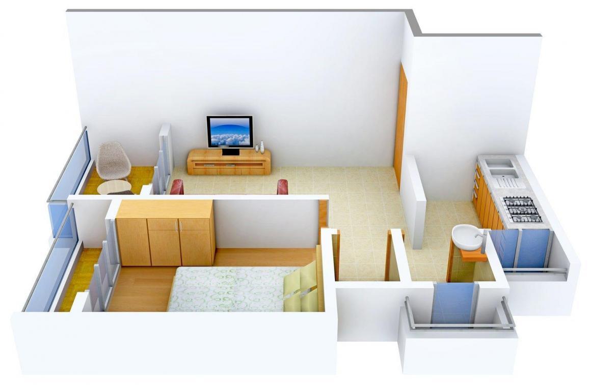 Floor Plan Image of 0 - 730 Sq.ft 1 BHK Apartment for buy in Shreeji Ira