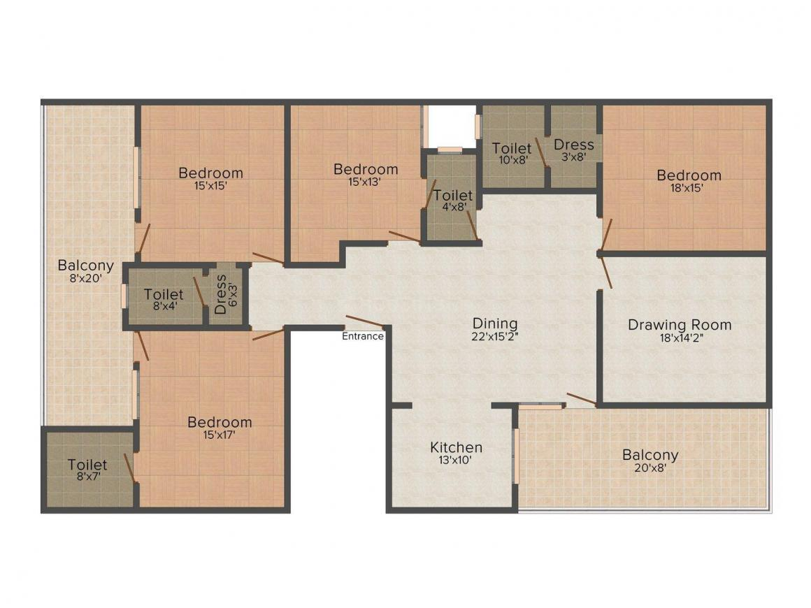 Rajdhani Palm Residency 2 Floor Plan: 4 BHK Unit with Built up area of 3100 sq.ft 1