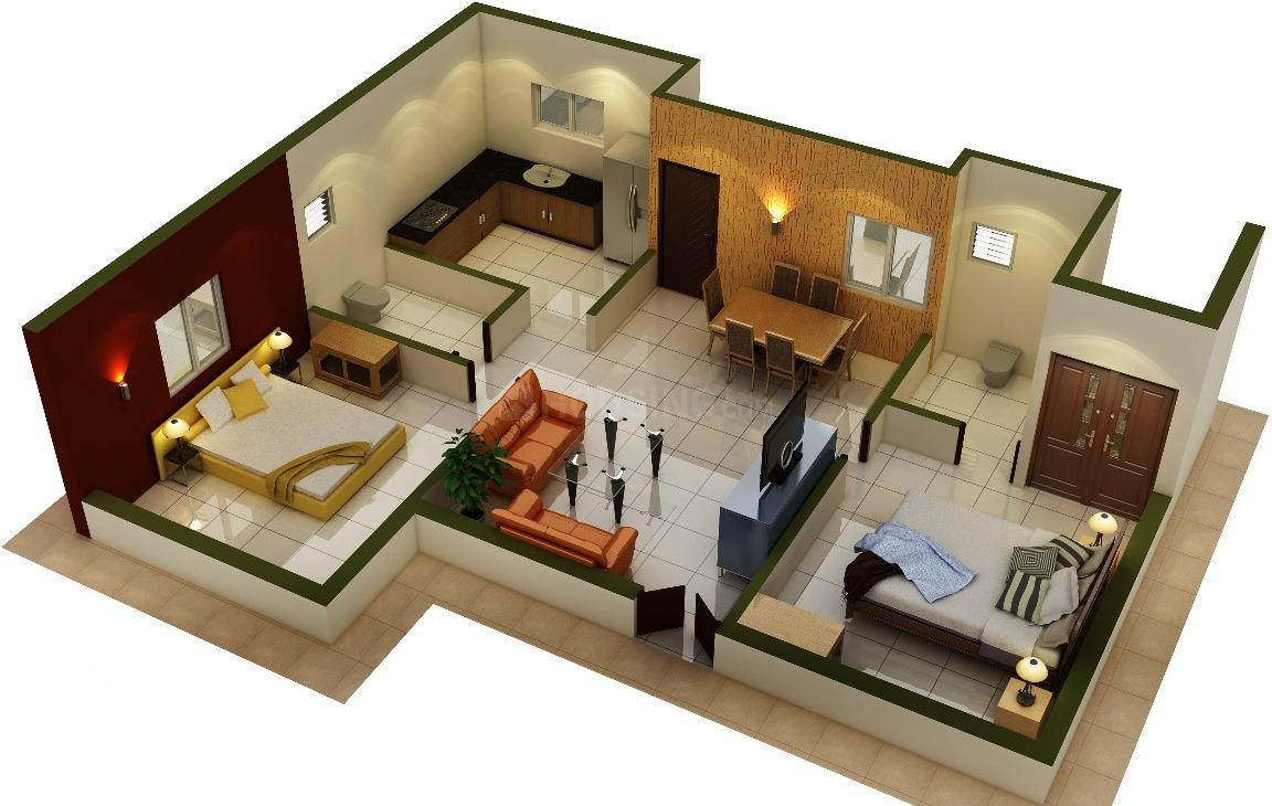 Asset ATH Krish Floor Plan: 2 BHK Unit with Built up area of 739 sq.ft 1