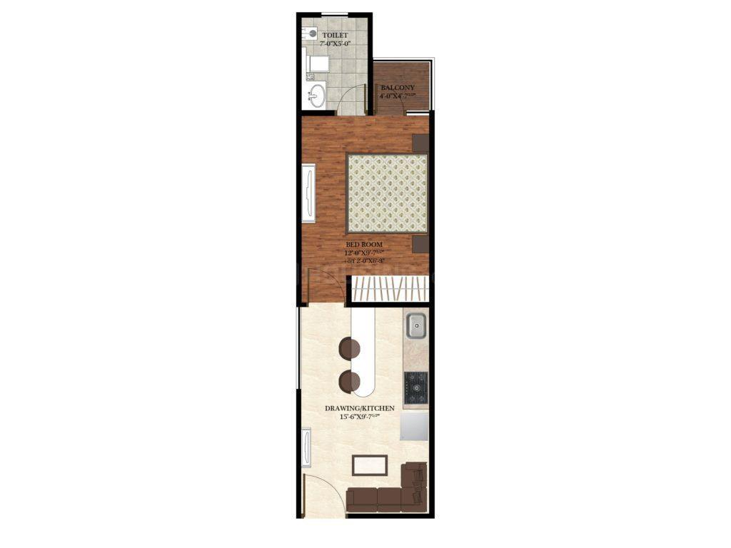 Shubhlakshya Shubh Nikunj Floor Plan: 1 BHK Unit with Built up area of 504 sq.ft 1