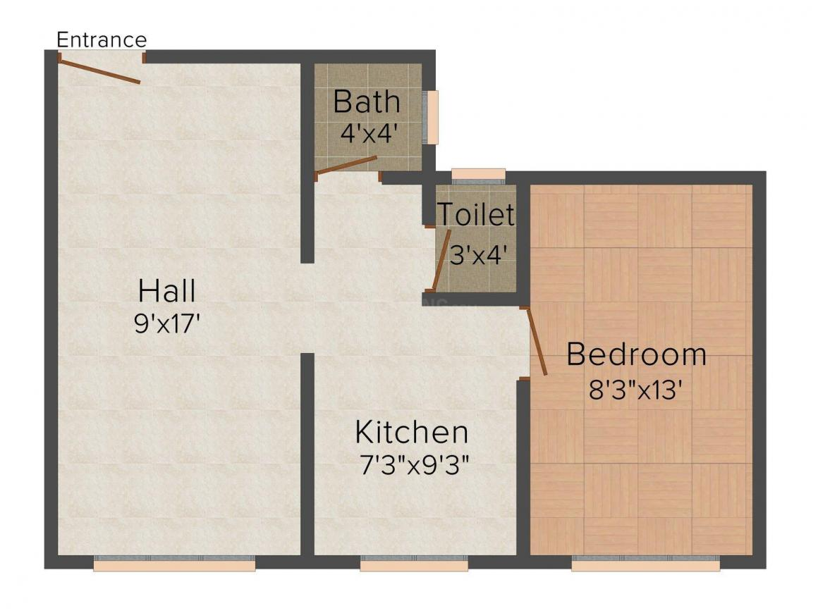 Floor Plan Image of 0 - 625 Sq.ft 1 BHK Apartment for buy in Jayveer Apartment