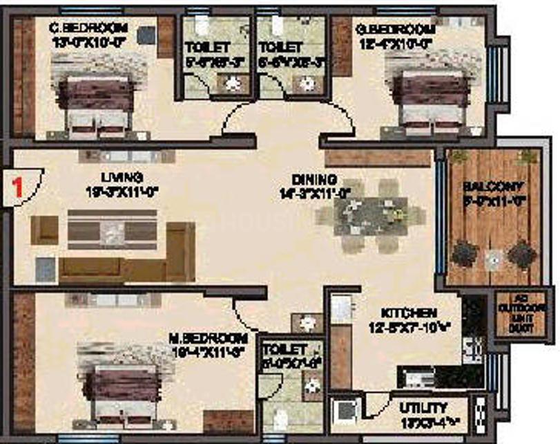 BRC Sri Hemadurga Sivahills Floor Plan: 3 BHK Unit with Built up area of 1755 sq.ft 1