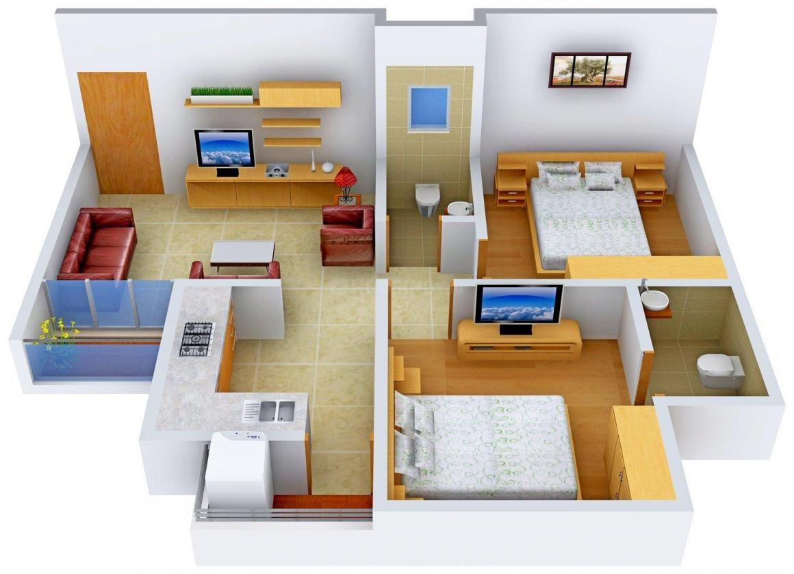 Floor Plan Image of 875.0 - 1435.0 Sq.ft 2 BHK Apartment for buy in Aditya Pushti