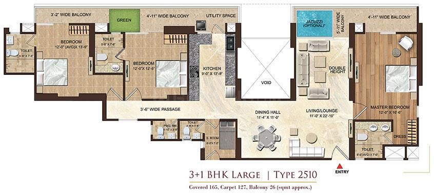 Dasnac Burj Noida Floor Plan: 3 BHK Unit with Built up area of 2510 sq.ft 1
