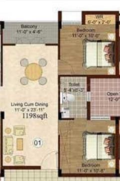Isha Yara Floor Plan: 2 BHK Unit with Built up area of 939 sq.ft 1