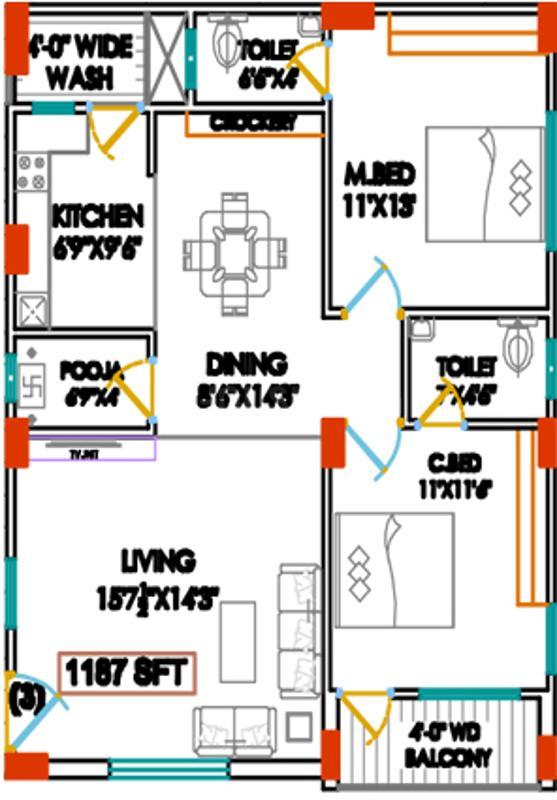 Floor Plan Image of 1187.0 - 1833.0 Sq.ft 2 BHK Apartment for buy in Sree Vari Nilayam