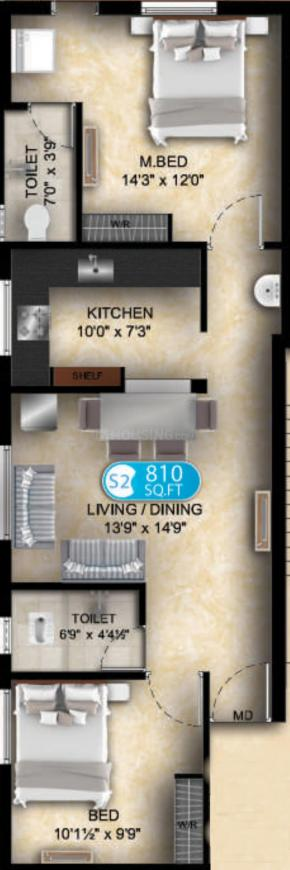DAC Promoters DAC M S Arcade Floor Plan: 2 BHK Unit with Built up area of 810 sq.ft 1