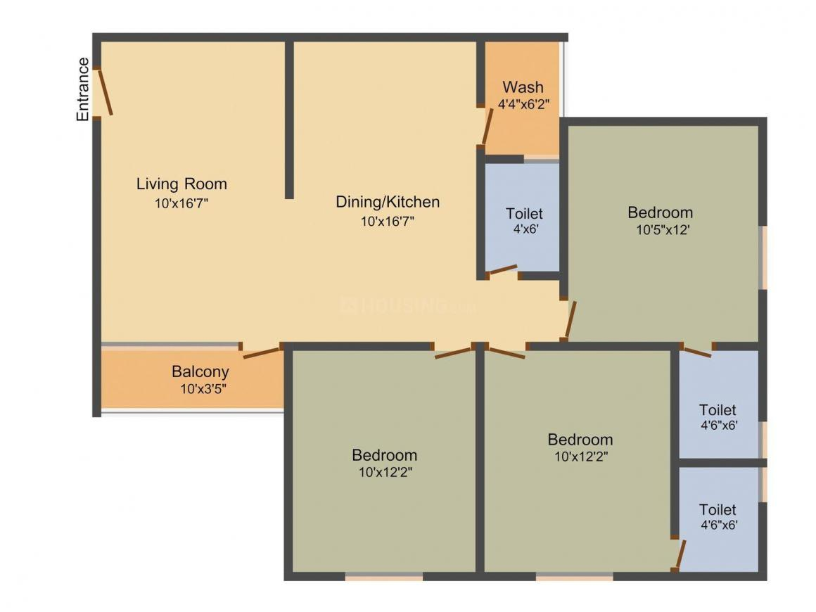 Festival Residency 2 Floor Plan: 3 BHK Unit with Built up area of 1557 sq.ft 1