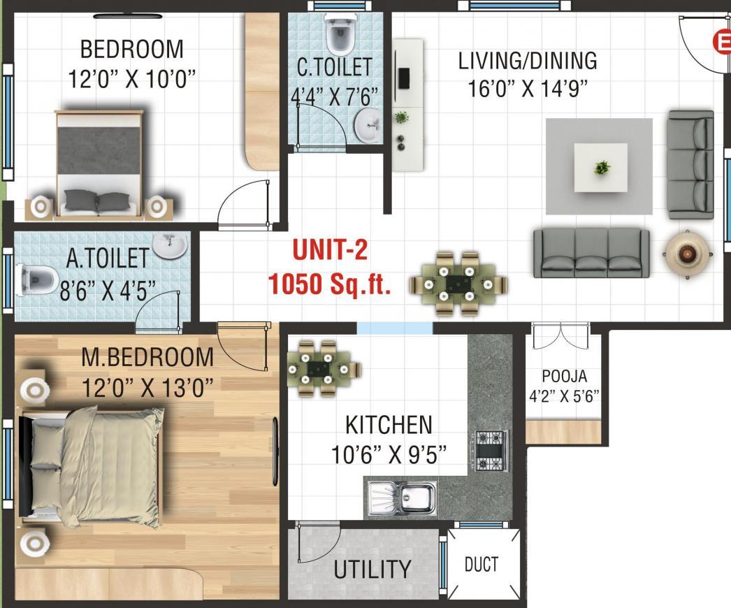 Laavanya Sri Sapthagiri Homes Floor Plan: 2 BHK Unit with Built up area of 1050 sq.ft 1