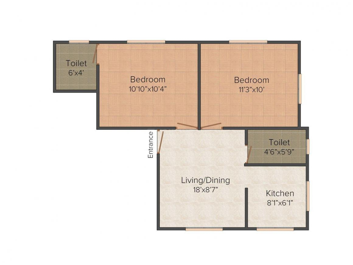Floor Plan Image of 0 - 629.0 Sq.ft 2 BHK Apartment for buy in VF Serenity