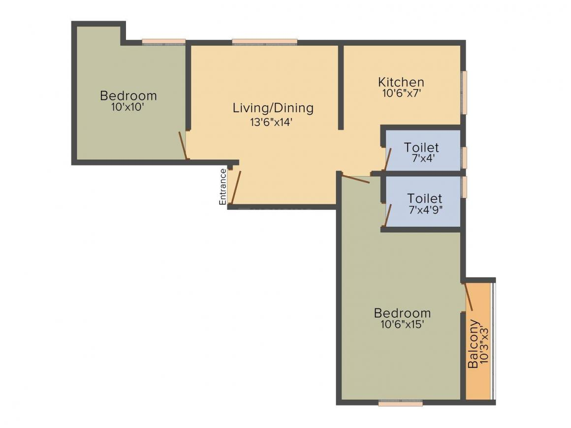 Floor Plan Image of 936 - 1330 Sq.ft 2 BHK Apartment for buy in DAC Raksha