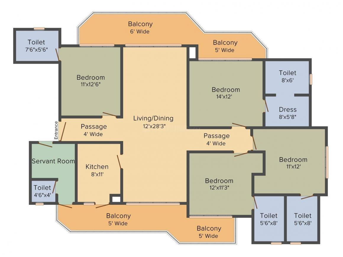 SPR Elysia Floor Plan: 4 BHK Unit with Built up area of 2380 sq.ft 1