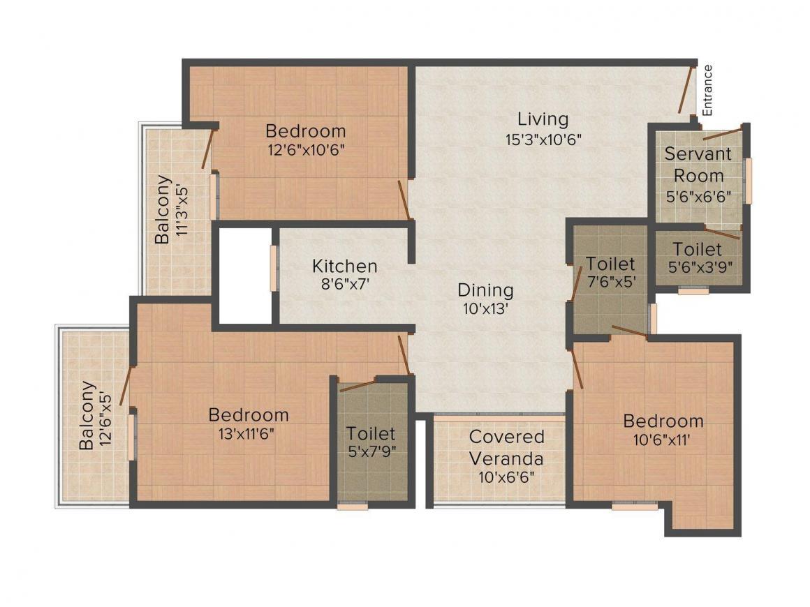 Floor Plan Image of 0 - 1755 Sq.ft 3 BHK Independent Floor for buy in City Estate 69 - P