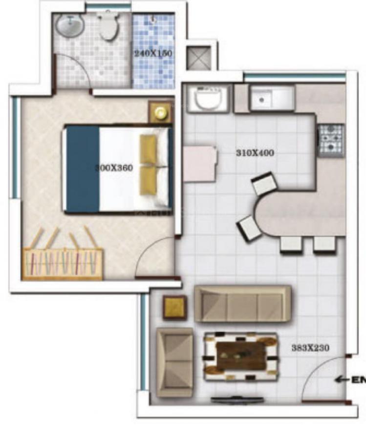 Crescent Platinum Floor Plan: 1 BHK Unit with Built up area of 602 sq.ft 1
