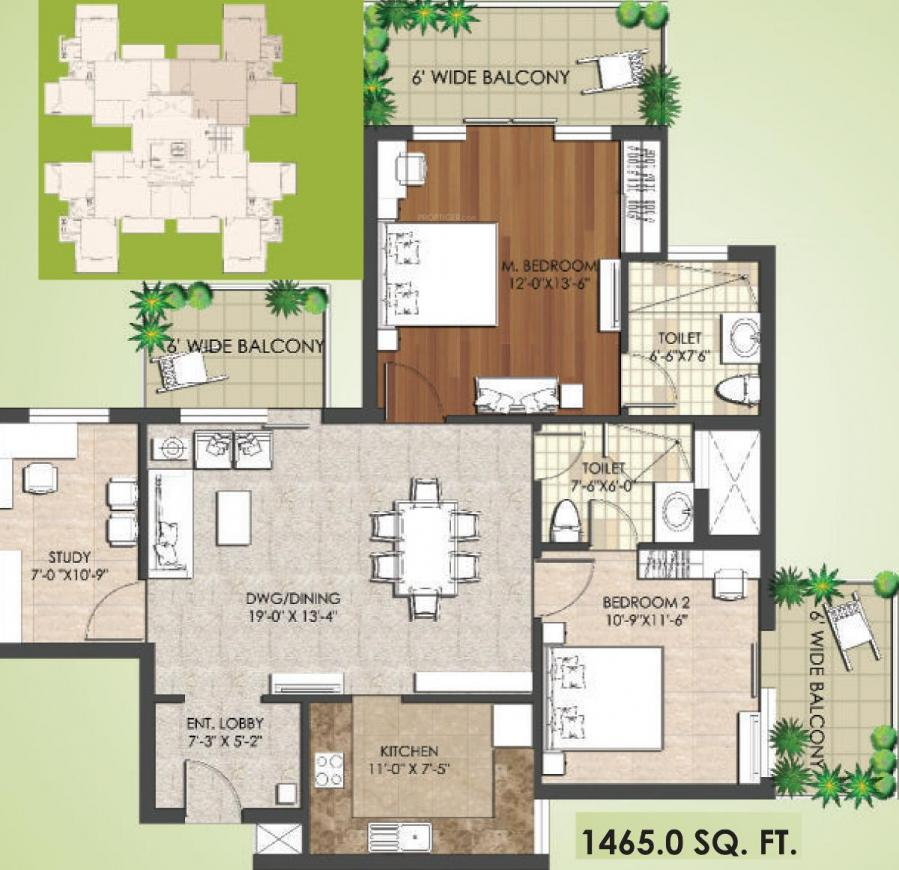 Spaze Privy AT4 Floor Plan: 2 BHK Unit with Built up area of 1465 sq.ft 1