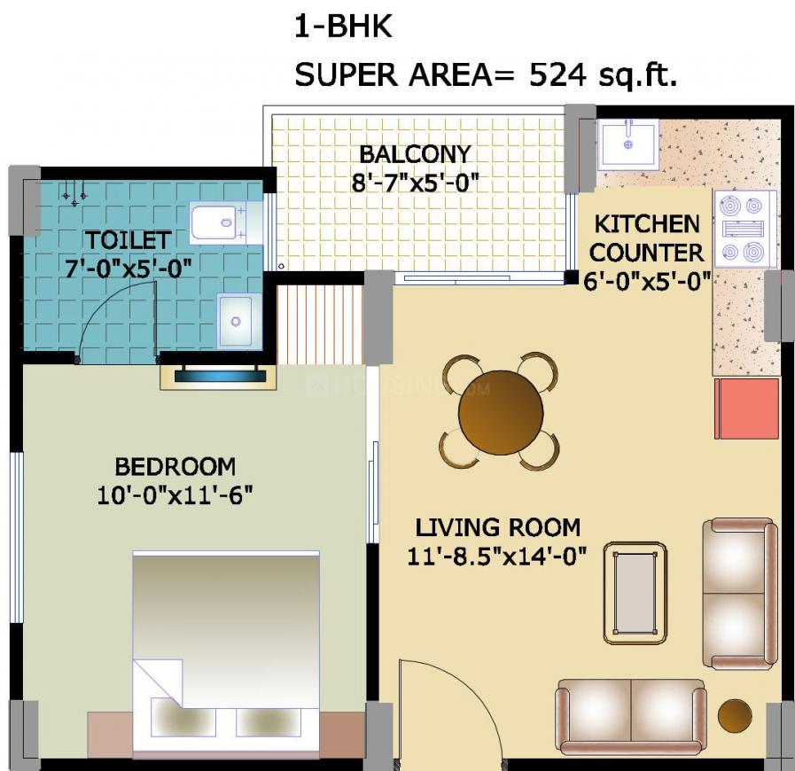Horizon Anant Floor Plan: 1 BHK Unit with Built up area of 524 sq.ft 1
