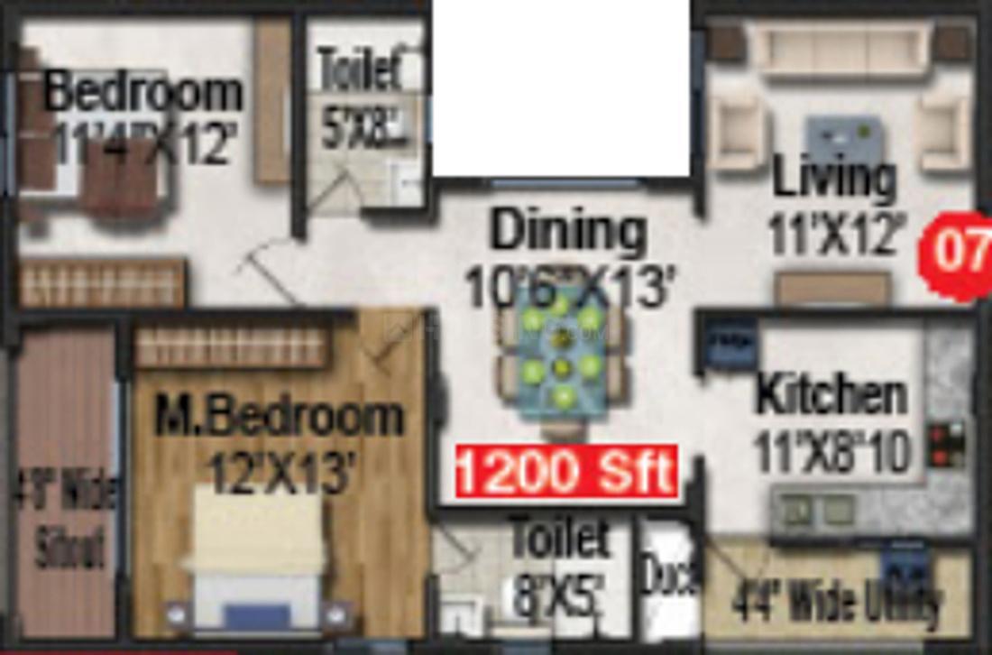 Pavani Divine Floor Plan: 2 BHK Unit with Built up area of 1200 sq.ft 1