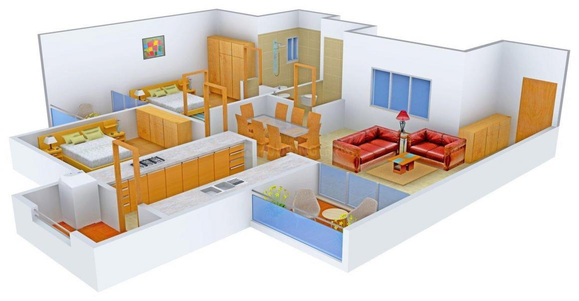 Floor Plan Image of 1364 - 2694 Sq.ft 2 BHK Apartment for buy in Mahabaleshwara Classique Gateway
