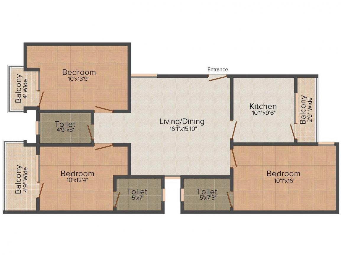 Floor Plan Image of 0 - 1458.0 Sq.ft 3 BHK Apartment for buy in HRG Bhagya Shree