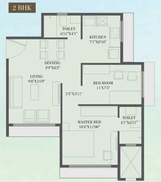 Shivam Aspire Floor Plan: 1 BHK Unit with Built up area of 532 sq.ft 1