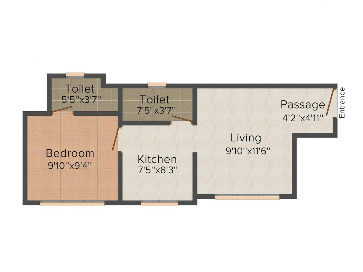 Floor Plan Image of 530 - 780 Sq.ft 1 BHK Apartment for buy in Shraddha Orchid Avenue