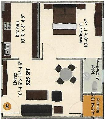 MKT Willow TRI Floor Plan: 1 BHK Unit with Built up area of 525 sq.ft 1