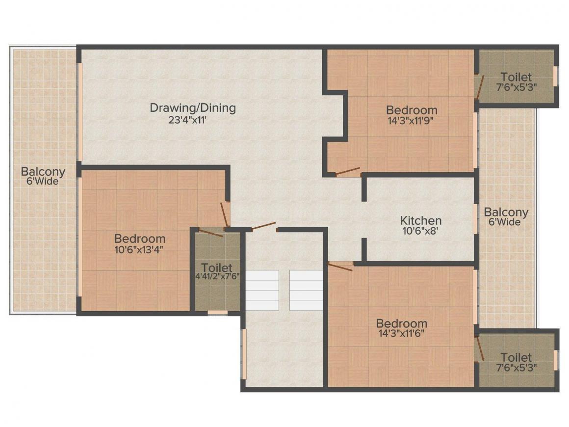Hari Bol Estate 4 Floor Plan: 3 BHK Unit with Built up area of 1400 sq.ft 1