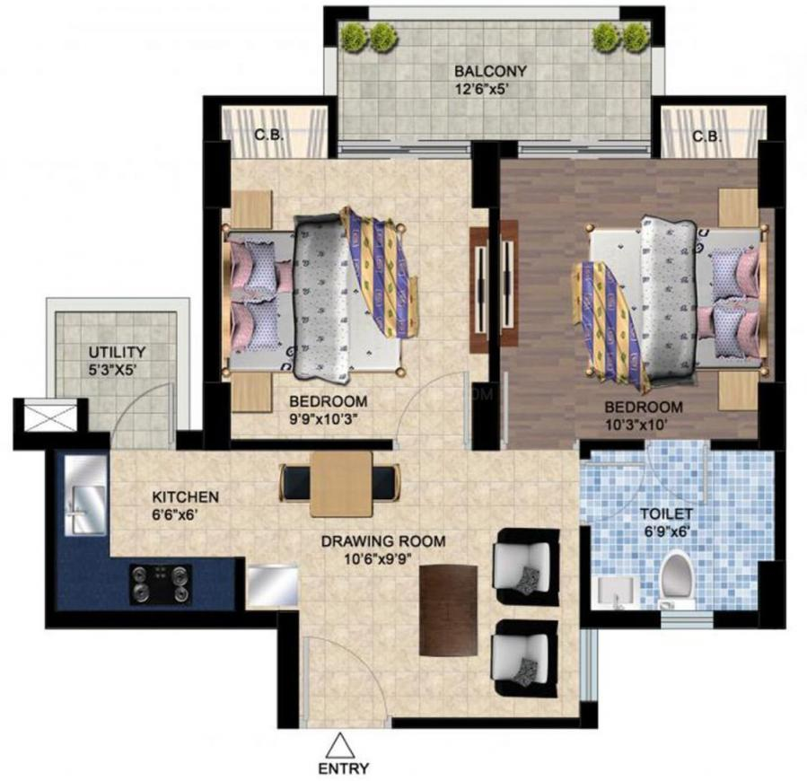 Sikka Kaamya Greens Floor Plan: 2 BHK Unit with Built up area of 715 sq.ft 1