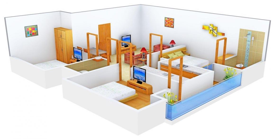 Phulkari Orange Floors  Floor Plan: 3 BHK Unit with Built up area of 1400 sq.ft 1