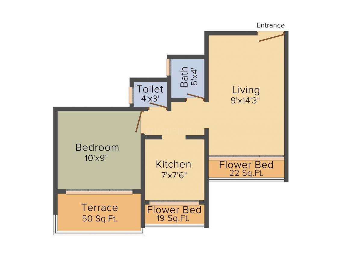 Floor Plan Image of 0 - 580.0 Sq.ft 1 BHK Apartment for buy in Nilkanth Varni Bhaveshwar Hill View