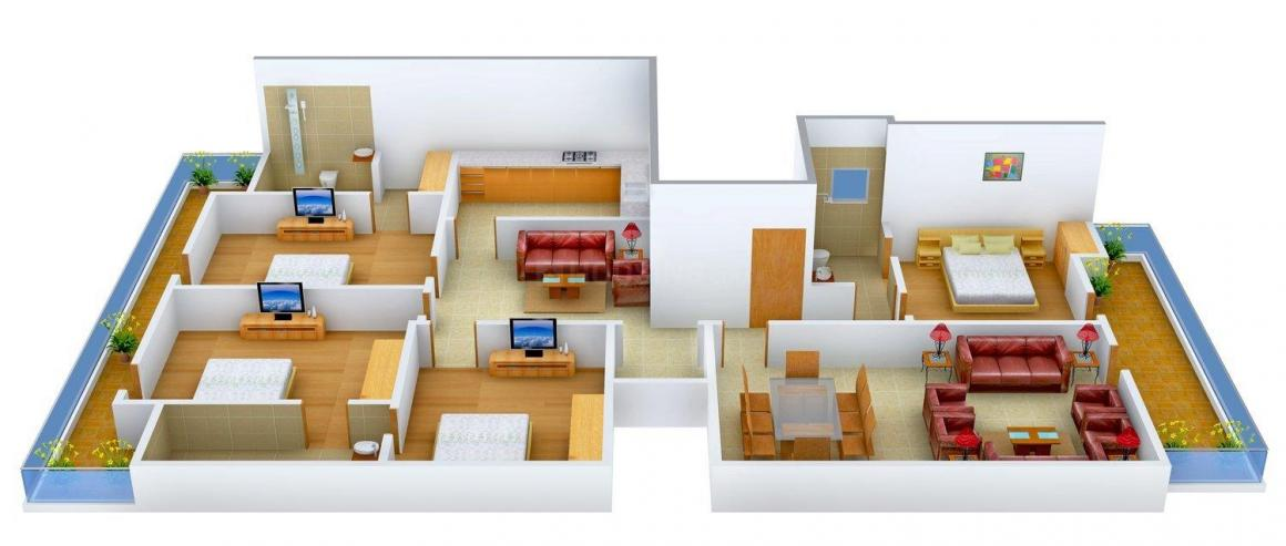Crest Infratech Floors - 2 Floor Plan: 4 BHK Unit with Built up area of 3240 sq.ft 1