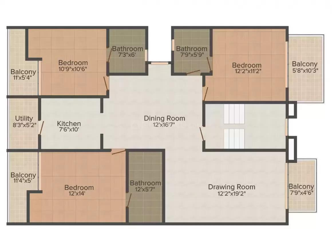 Da Villa The Address 56 Floor Plan: 3 BHK Unit with Built up area of 1402 sq.ft 1