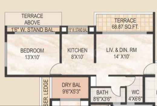 Akshar Altorios Floor Plan: 1 BHK Unit with Built up area of 670 sq.ft 1