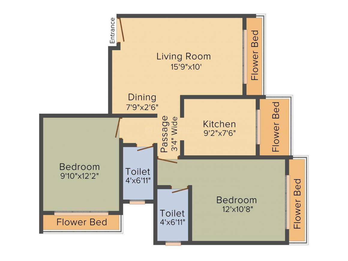 Floor Plan Image of 550.0 - 750.0 Sq.ft 1 BHK Apartment for buy in Malwani Ashajeevan