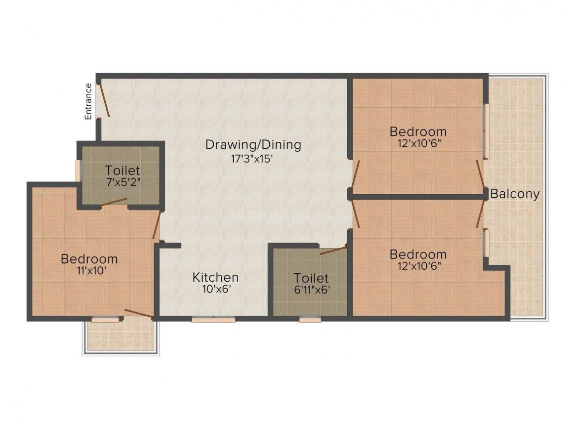 Akshat Floors B1075 Floor Plan: 3 BHK Unit with Built up area of 1500 sq.ft 1