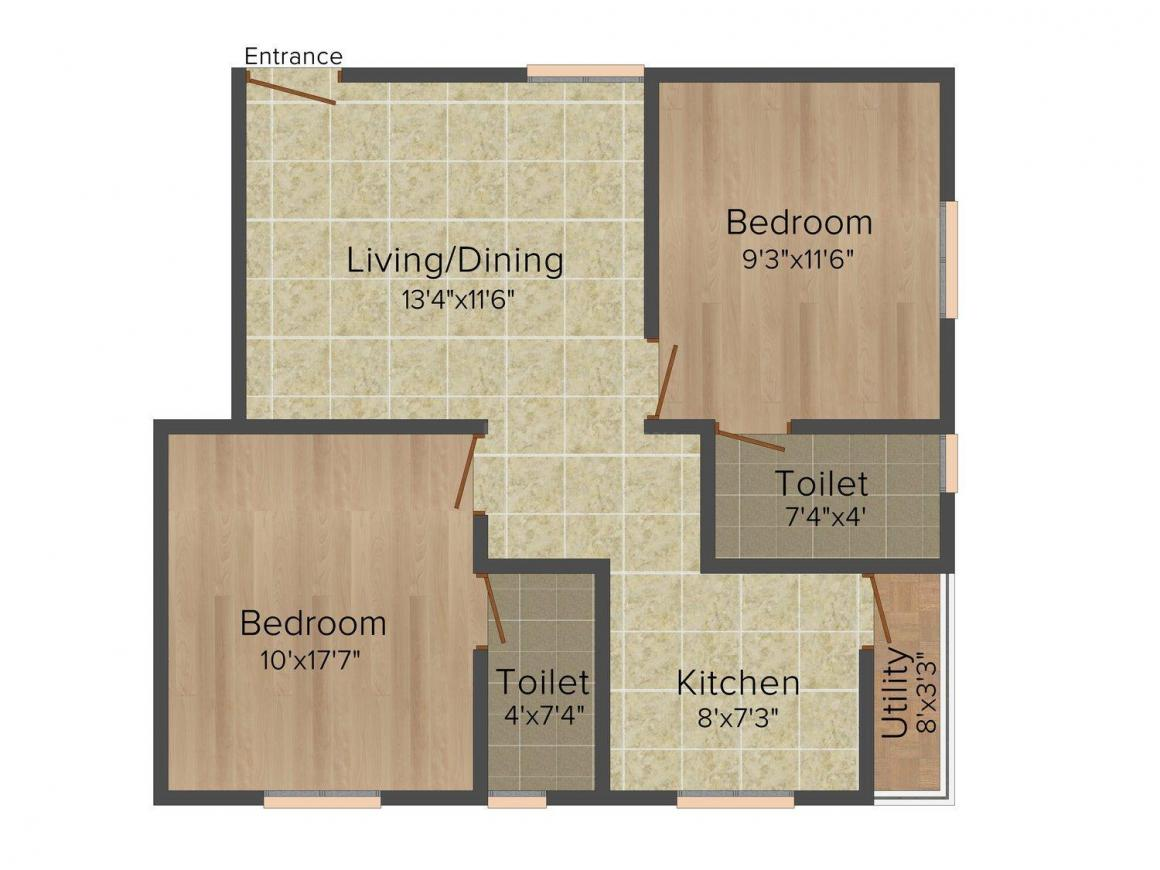 Floor Plan Image of 770 - 1315 Sq.ft 2 BHK Apartment for buy in Color Gates