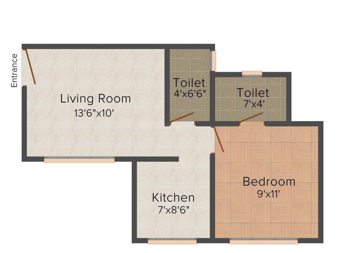 Floor Plan Image of 0 - 610.0 Sq.ft 1 BHK Apartment for buy in Gokul Vrundavan Valley
